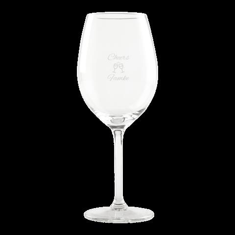 Laat een wijnglas graveren en kies uit verschillende kant-en-klare thema's!
